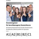 """Cover des Werkes """"Einstufungstest für berufsbezogene Deutschkurse"""", von dem auch ein Lehrerprüfstück bestellt werden kann."""